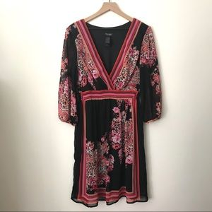 Bisou Bisou Michele Bohbot Black Floral Dress 14